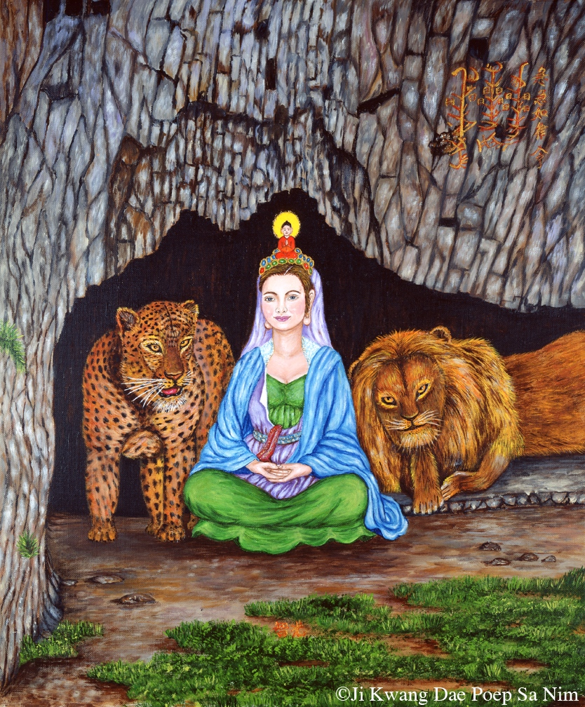 Bodhisattva with Tiger and Lion